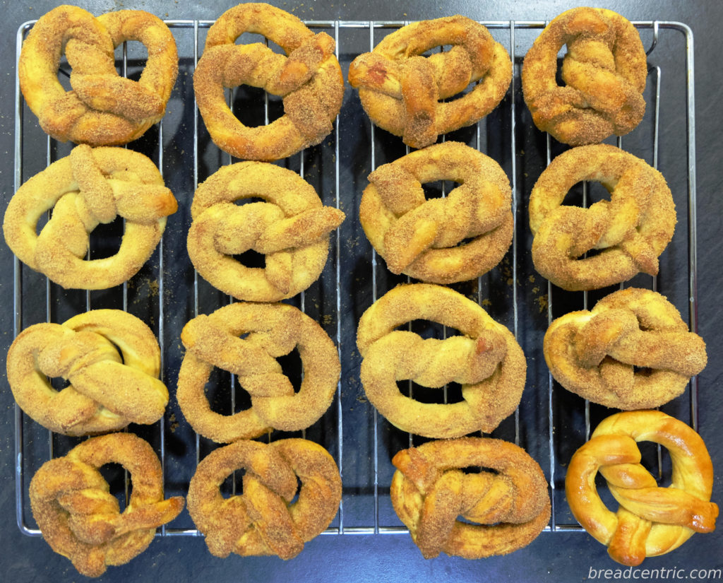 Pretzels on a cooling rack