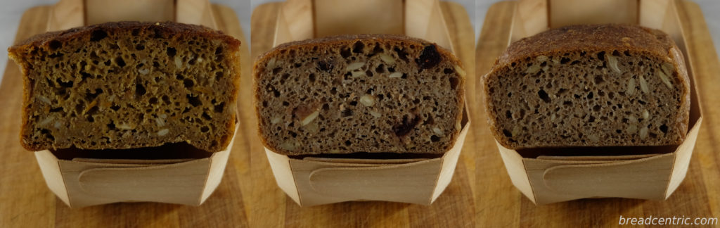 Rye bread: with pumpkin and rosemary, with cranberry and basic
