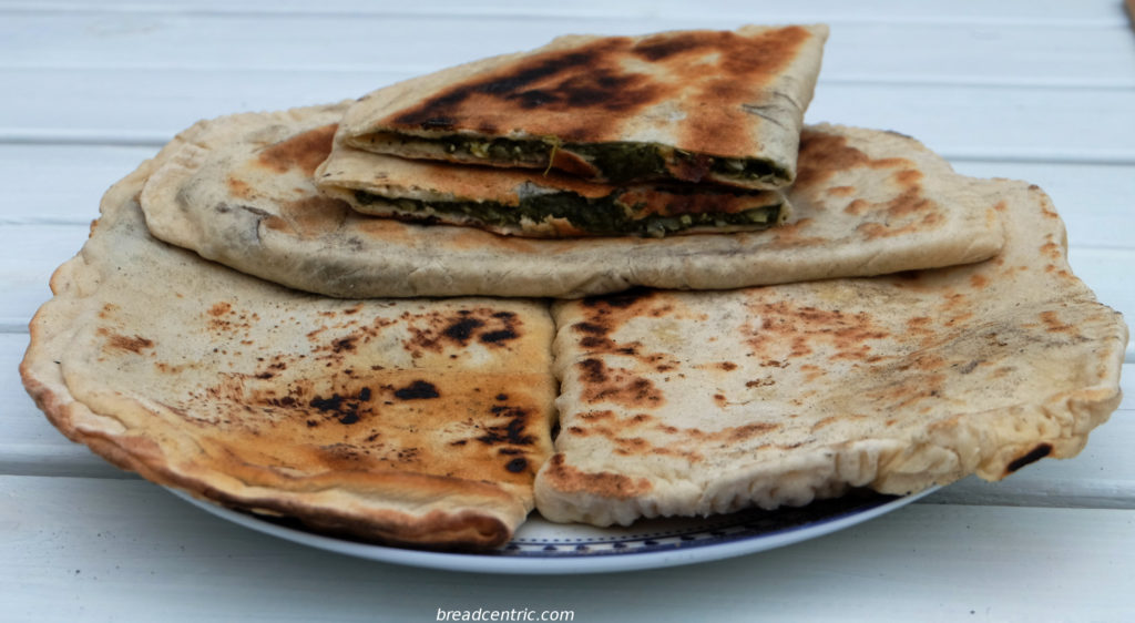 Gozleme with spinach filling