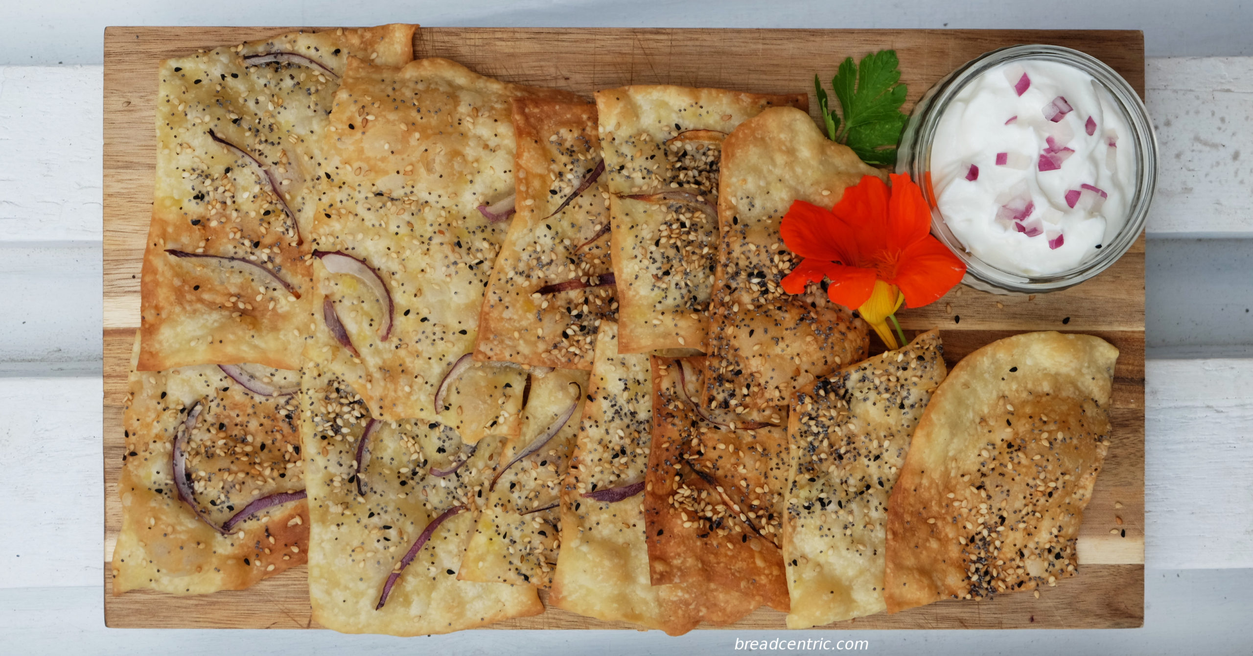 Armenian flatbreads, served with a dip and an edible nasturtium flour (tastes a bit like radish)