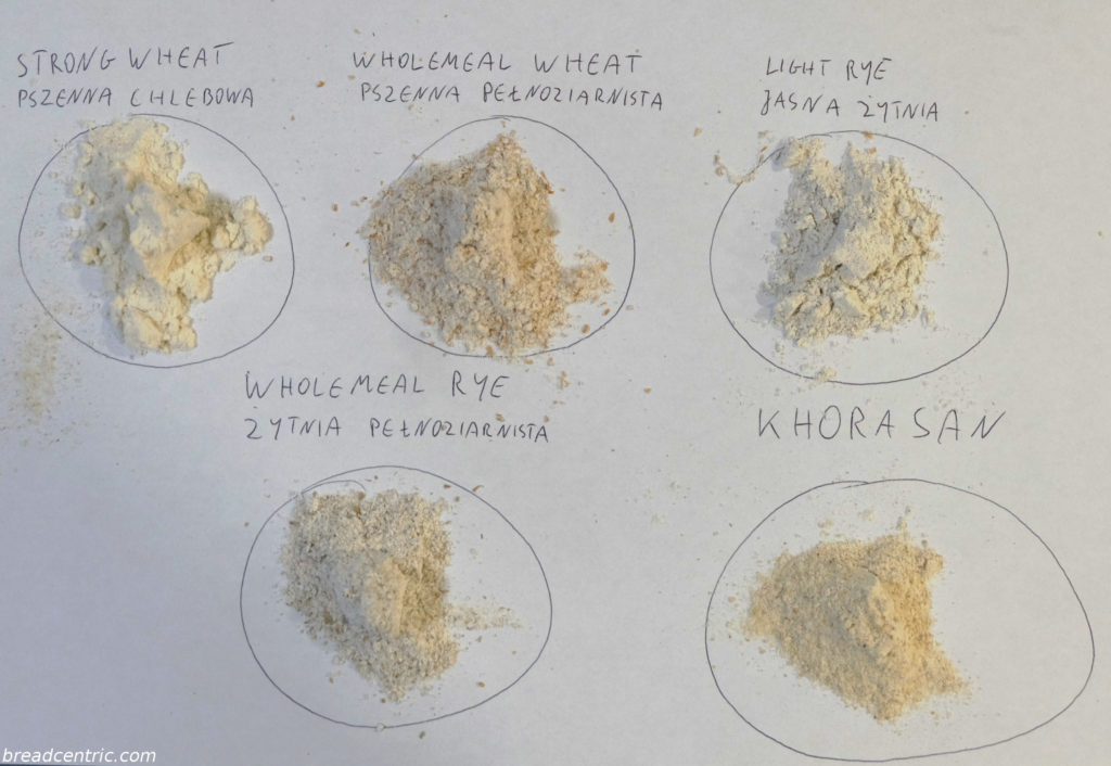 Different flour samples