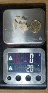2 grams of yeast compared to a Pound coin