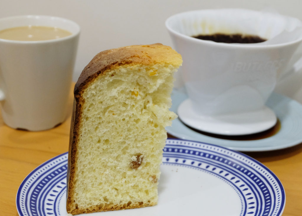 Fresh panettone with fresh coffee